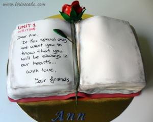 Tarta libro con rosa para Ann